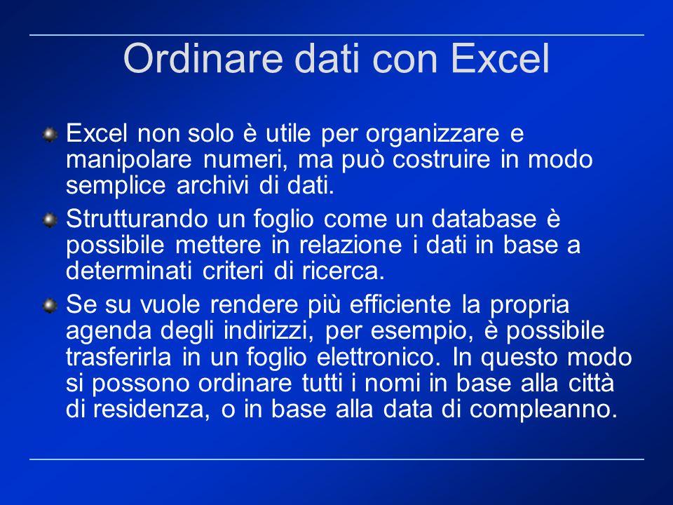 Ordinare dati con Excel