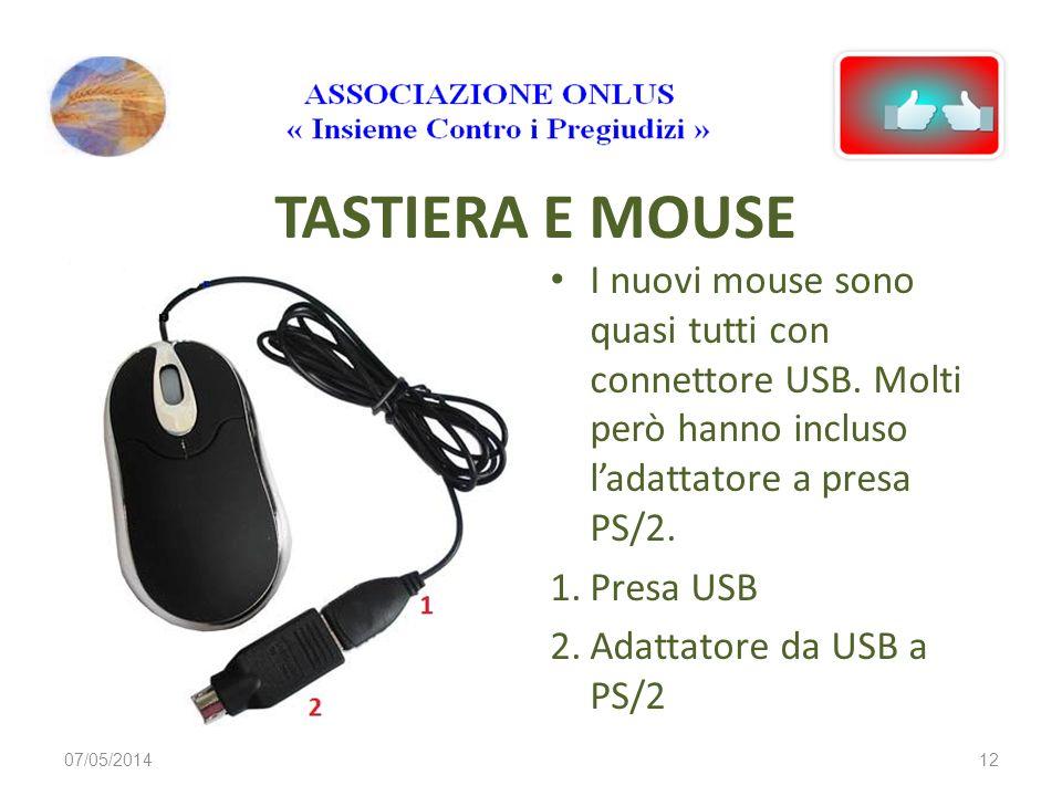 TASTIERA E MOUSE I nuovi mouse sono quasi tutti con connettore USB. Molti però hanno incluso l'adattatore a presa PS/2.