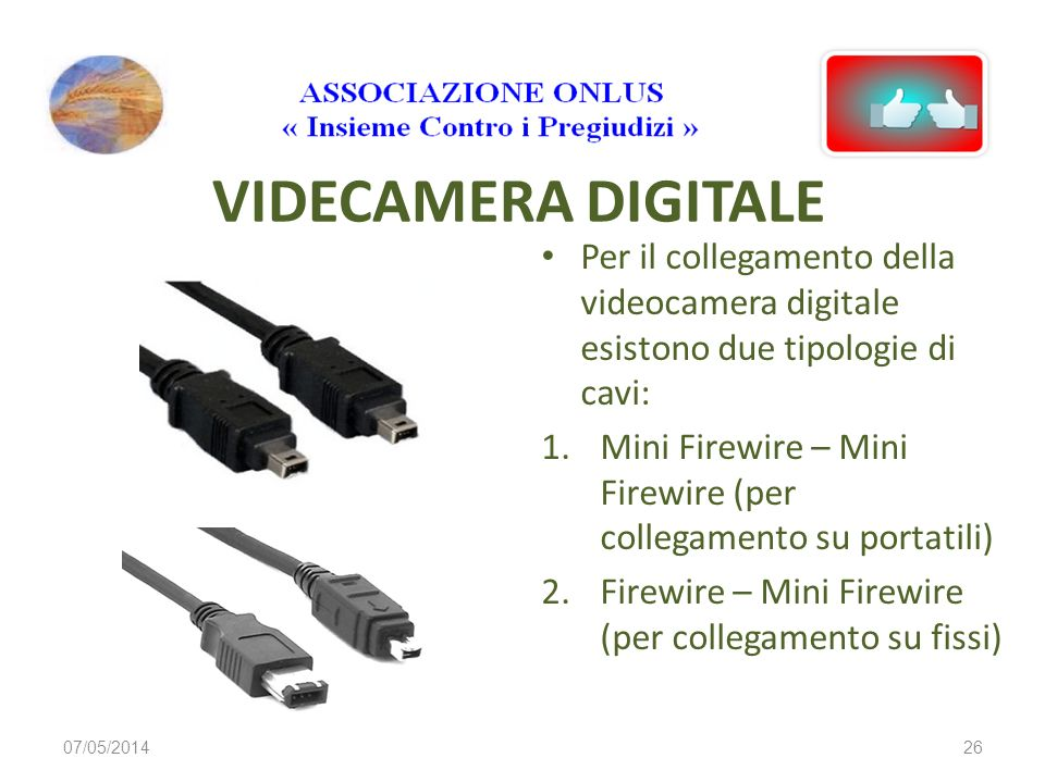 VIDECAMERA DIGITALEPer il collegamento della videocamera digitale esistono due tipologie di cavi: