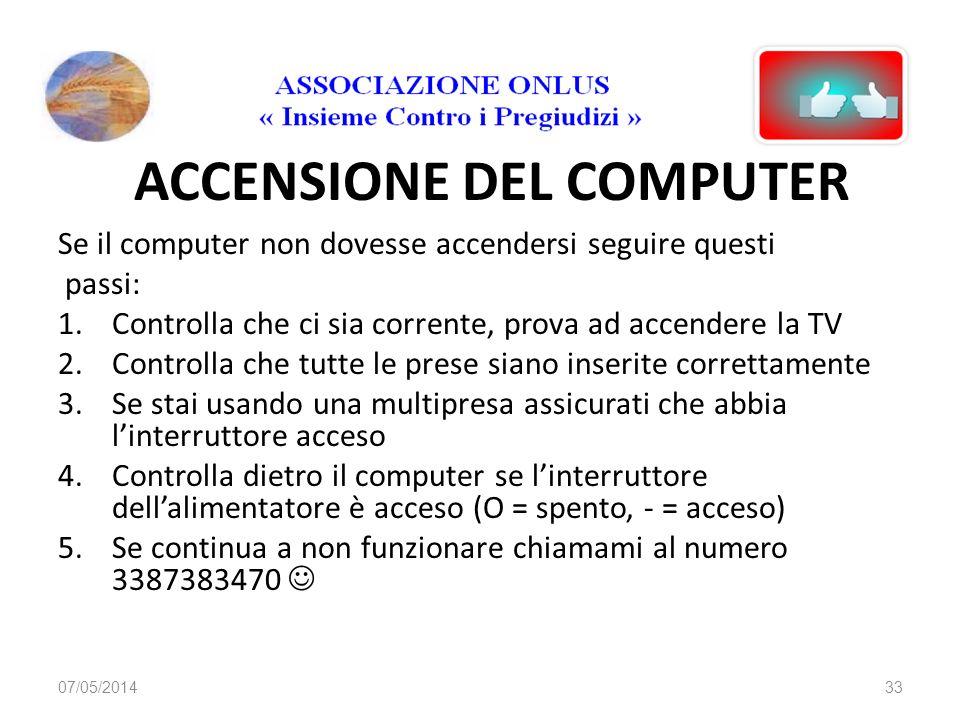 ACCENSIONE DEL COMPUTER