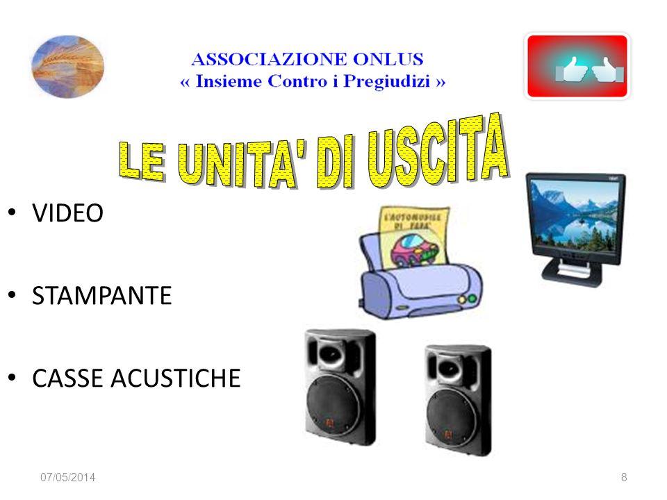 LE UNITA DI USCITA VIDEO STAMPANTE CASSE ACUSTICHE 29/03/2017