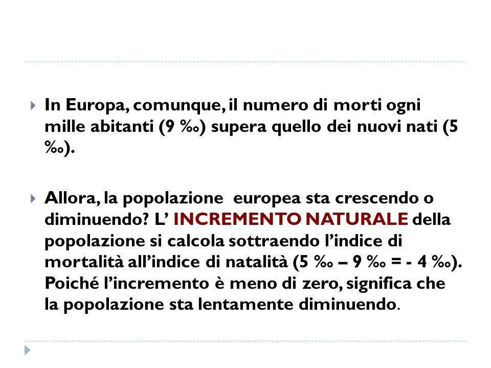 In Europa, comunque, il numero di morti ogni mille abitanti (9 ‰) supera quello dei nuovi nati (5 ‰).