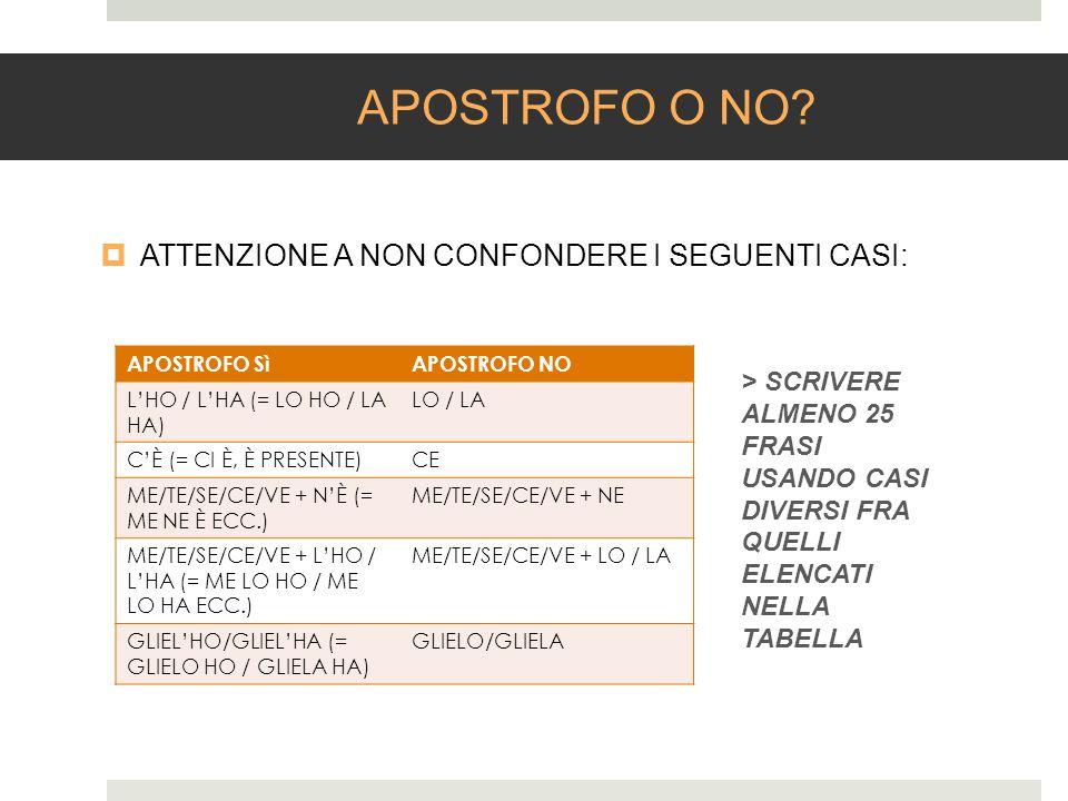 APOSTROFO O NO ATTENZIONE A NON CONFONDERE I SEGUENTI CASI: