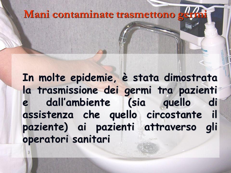 Mani contaminate trasmettono germi