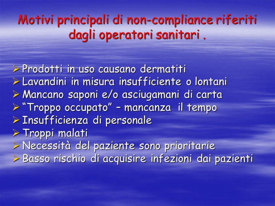 Motivi principali di non-compliance riferiti dagli operatori sanitari .