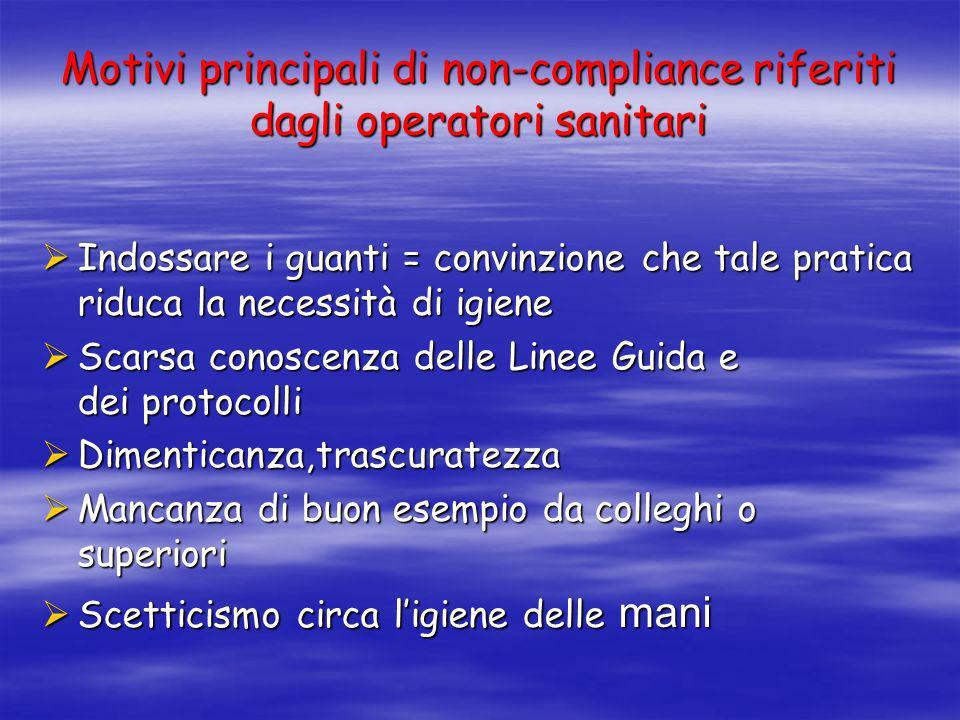 Motivi principali di non-compliance riferiti dagli operatori sanitari