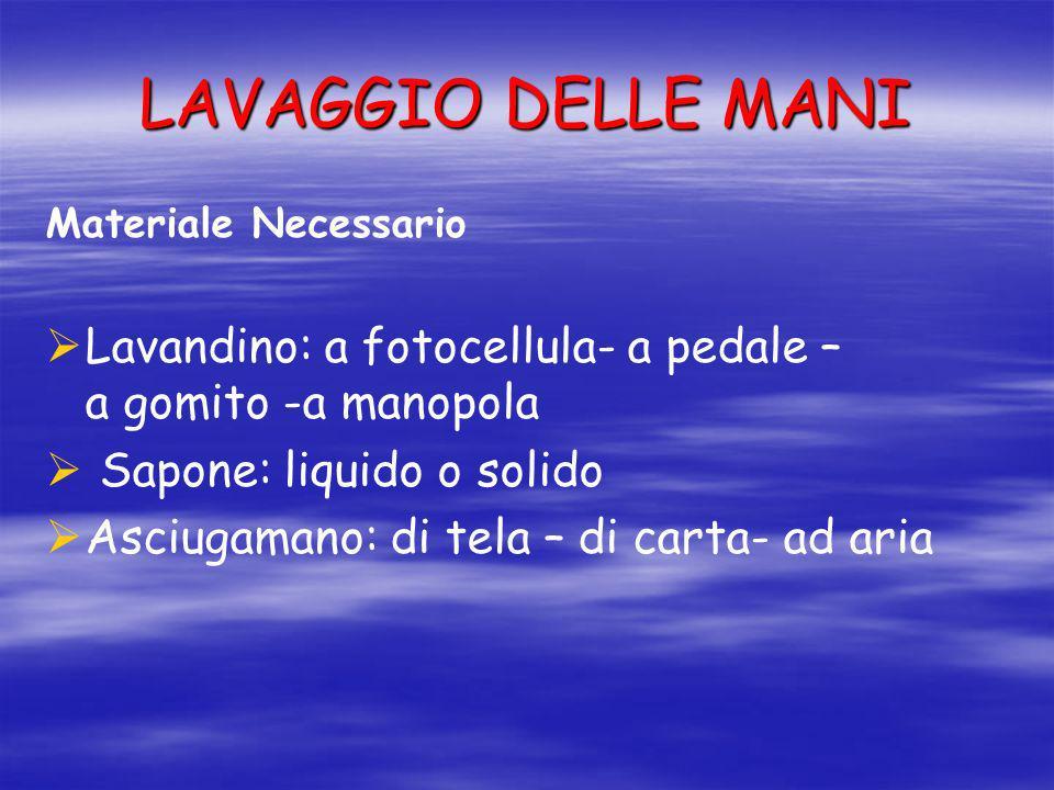 LAVAGGIO DELLE MANI Materiale Necessario. Lavandino: a fotocellula- a pedale – a gomito -a manopola.