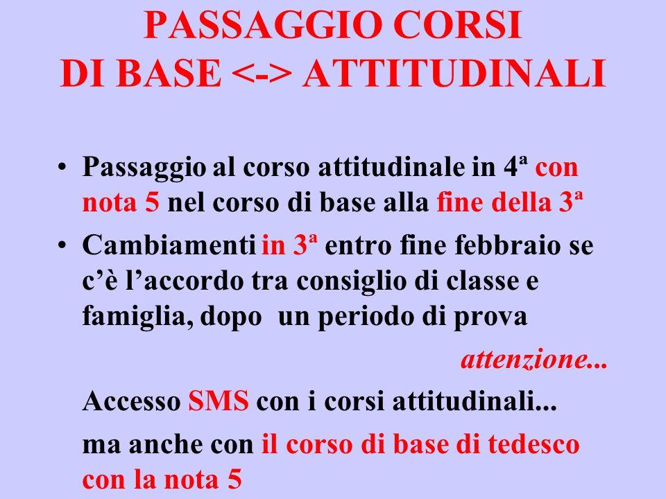 PASSAGGIO CORSI DI BASE <-> ATTITUDINALI