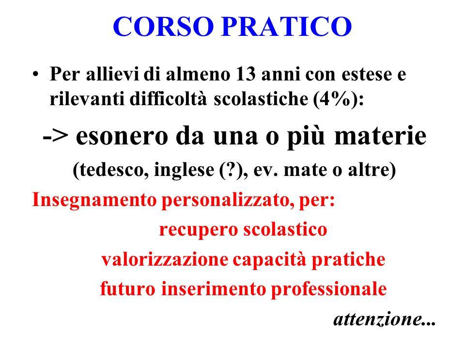 CORSO PRATICO -> esonero da una o più materie