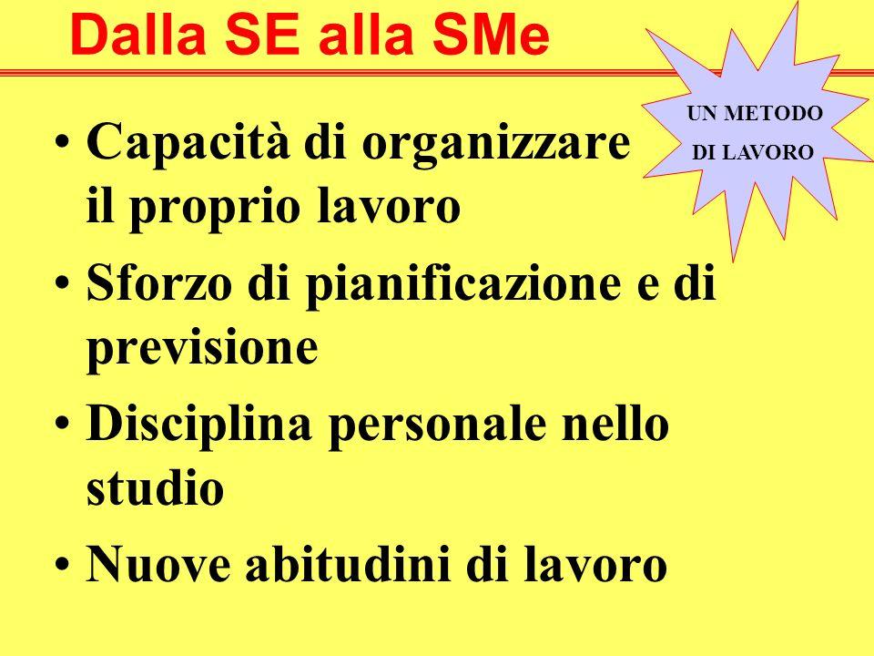 Dalla SE alla SMe Capacità di organizzare il proprio lavoro