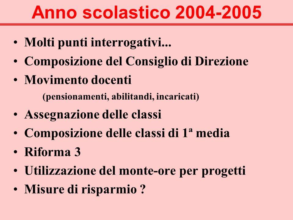 Anno scolastico 2004-2005 Molti punti interrogativi...