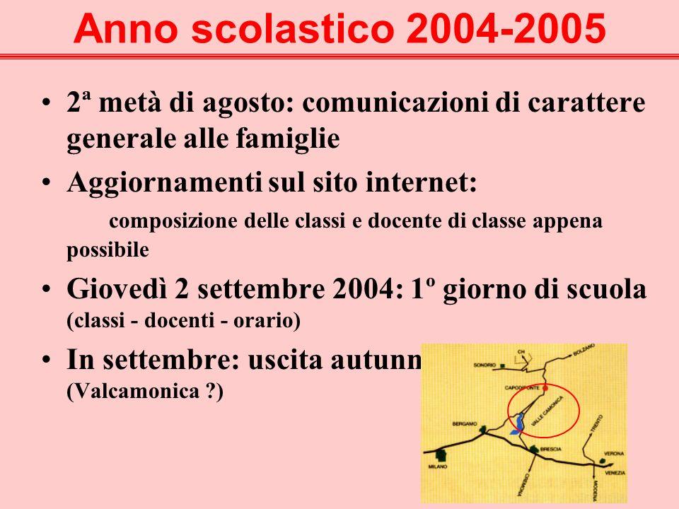Anno scolastico 2004-2005 2ª metà di agosto: comunicazioni di carattere generale alle famiglie.