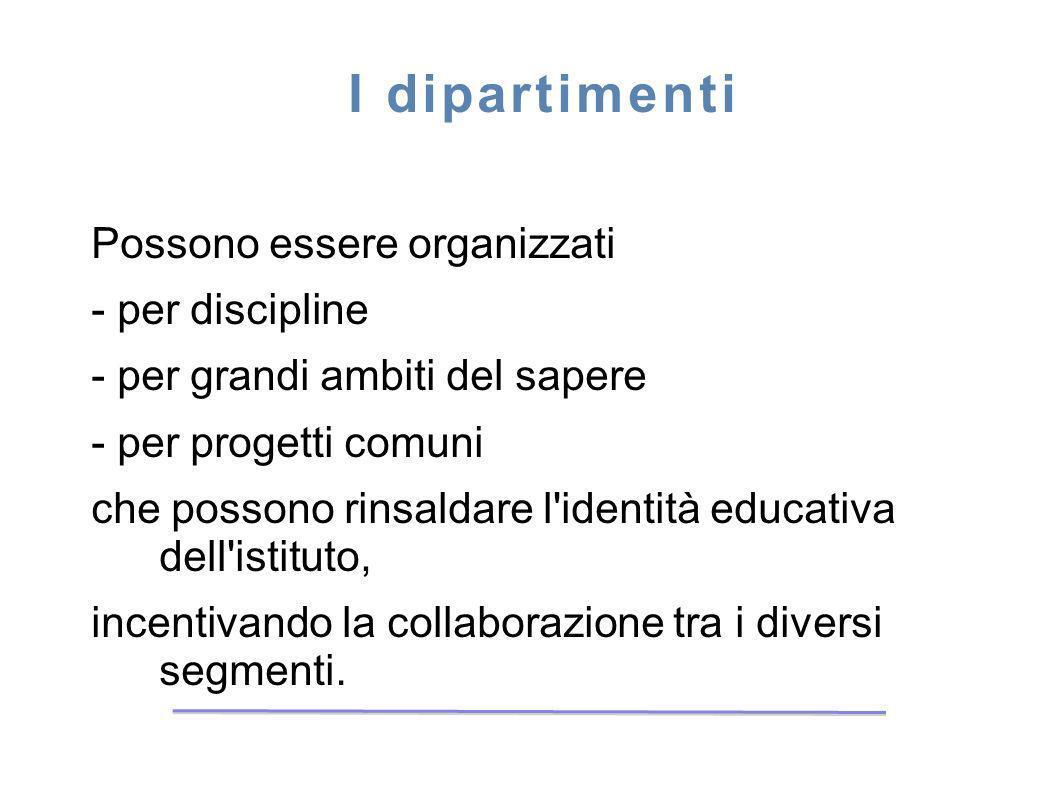 I dipartimenti Possono essere organizzati - per discipline