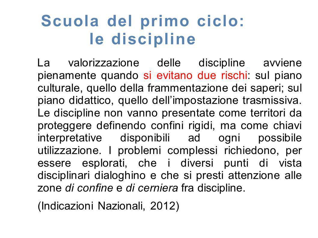 Scuola del primo ciclo: le discipline