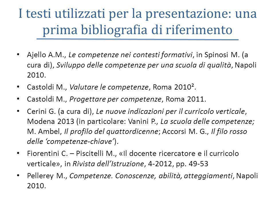 I testi utilizzati per la presentazione: una prima bibliografia di riferimento