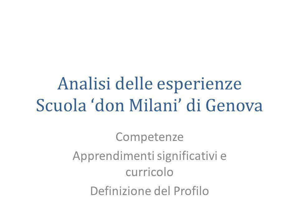 Analisi delle esperienze Scuola 'don Milani' di Genova