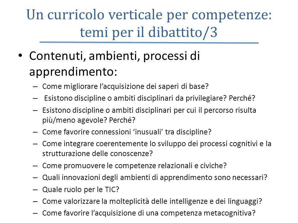 Un curricolo verticale per competenze: temi per il dibattito/3