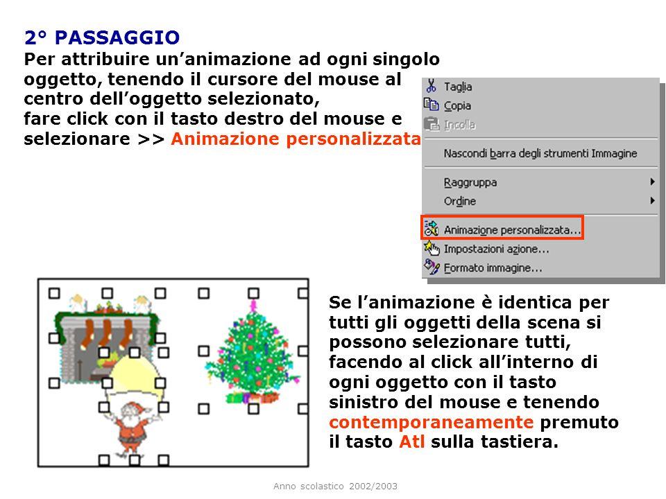 2° PASSAGGIO Per attribuire un'animazione ad ogni singolo oggetto, tenendo il cursore del mouse al centro dell'oggetto selezionato,