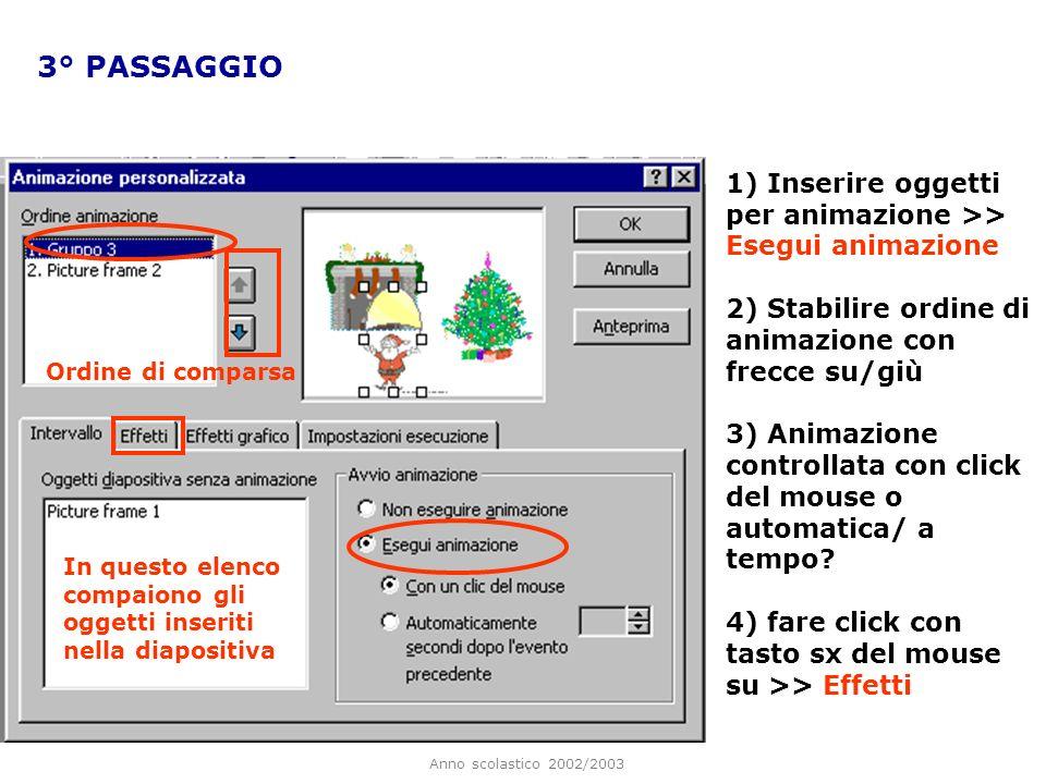 3° PASSAGGIO 1) Inserire oggetti per animazione >> Esegui animazione. 2) Stabilire ordine di animazione con frecce su/giù.