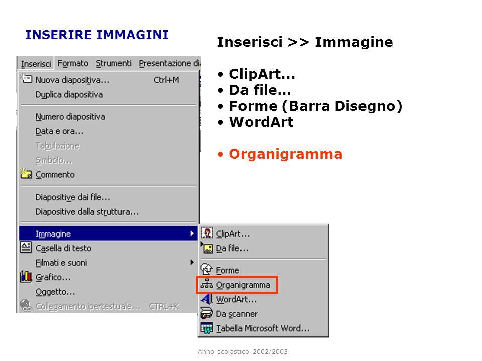 Inserisci >> Immagine ClipArt... Da file… Forme (Barra Disegno)