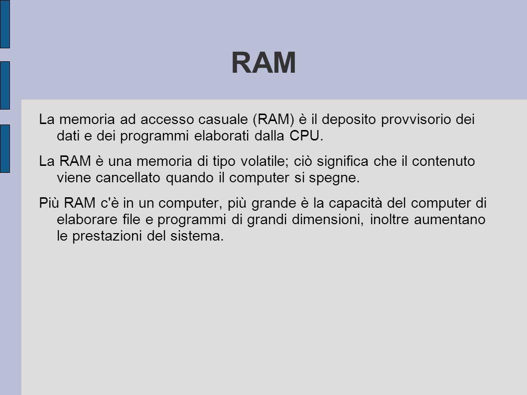 RAM La memoria ad accesso casuale (RAM) è il deposito provvisorio dei dati e dei programmi elaborati dalla CPU.