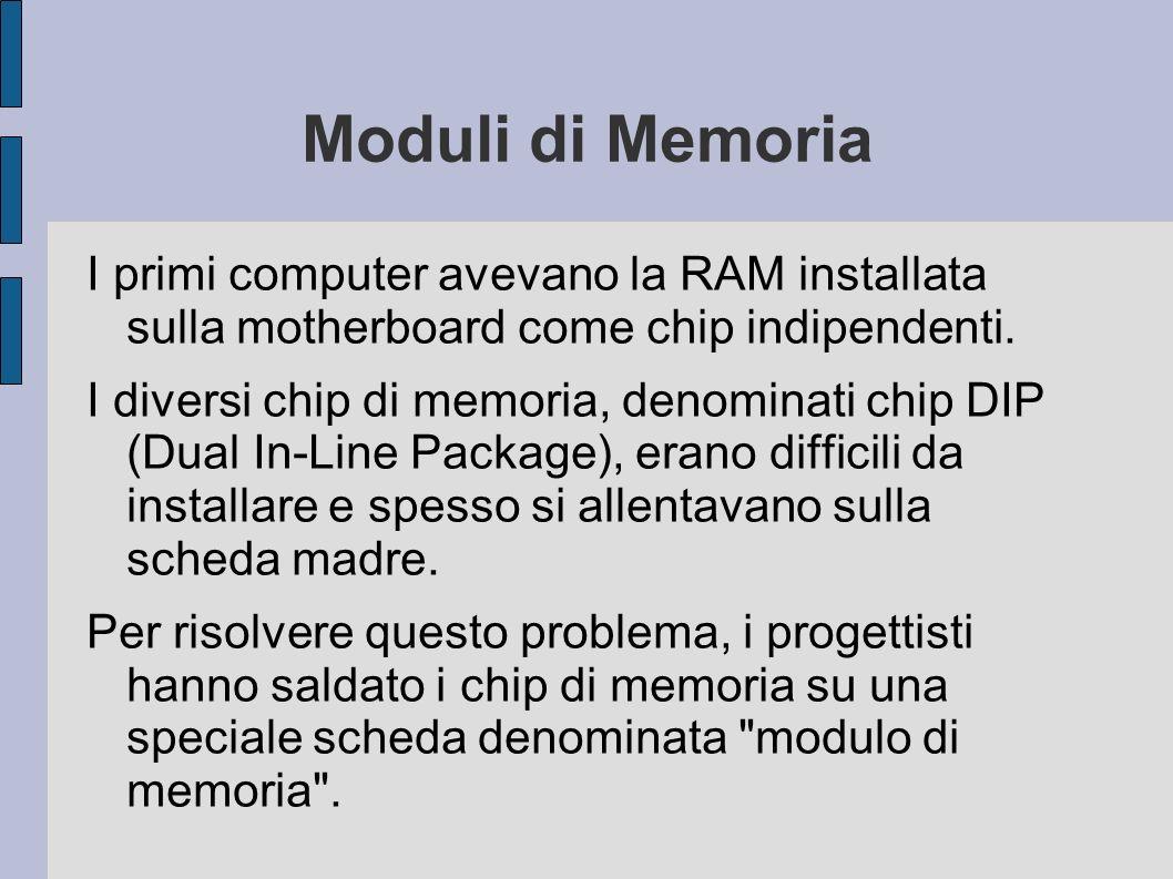 Moduli di Memoria I primi computer avevano la RAM installata sulla motherboard come chip indipendenti.