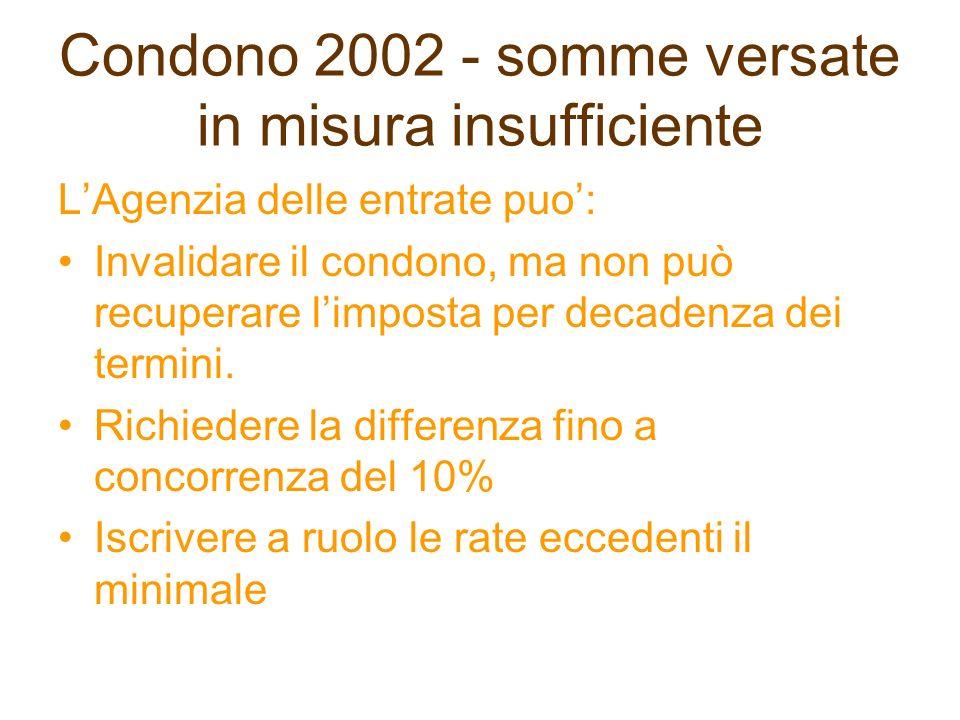 Condono 2002 - somme versate in misura insufficiente