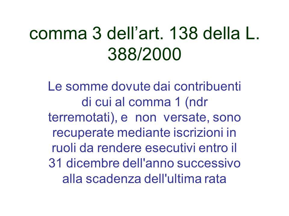 comma 3 dell'art. 138 della L. 388/2000