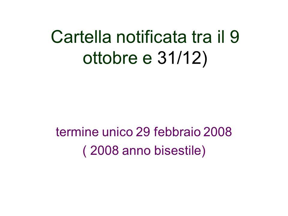 Cartella notificata tra il 9 ottobre e 31/12)