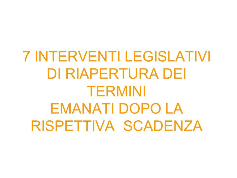 7 INTERVENTI LEGISLATIVI DI RIAPERTURA DEI TERMINI EMANATI DOPO LA RISPETTIVA SCADENZA