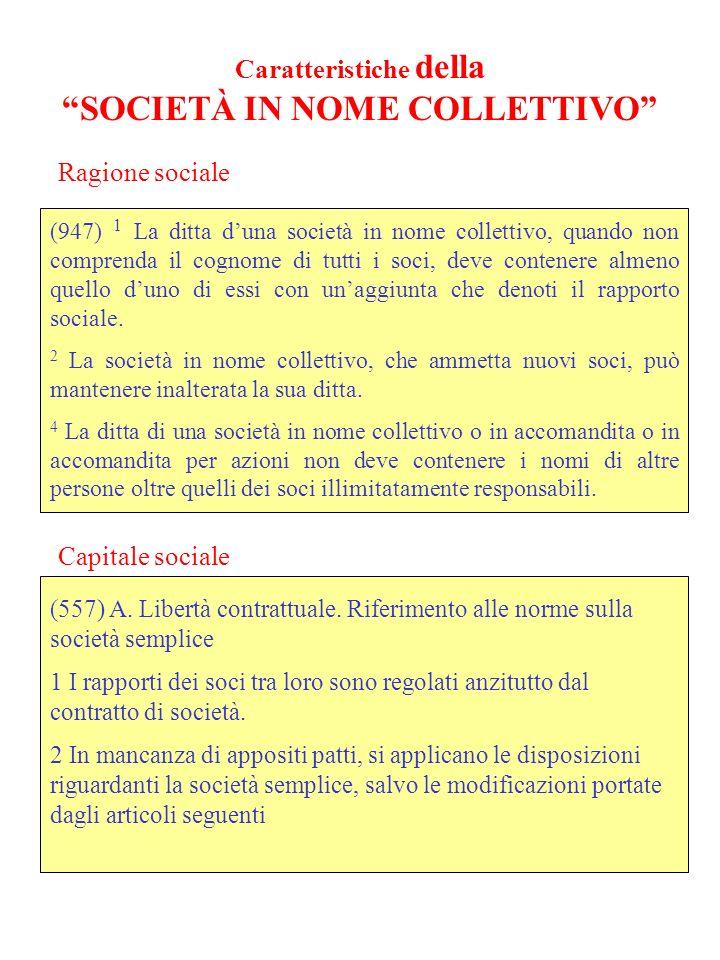 Caratteristiche della SOCIETÀ IN NOME COLLETTIVO