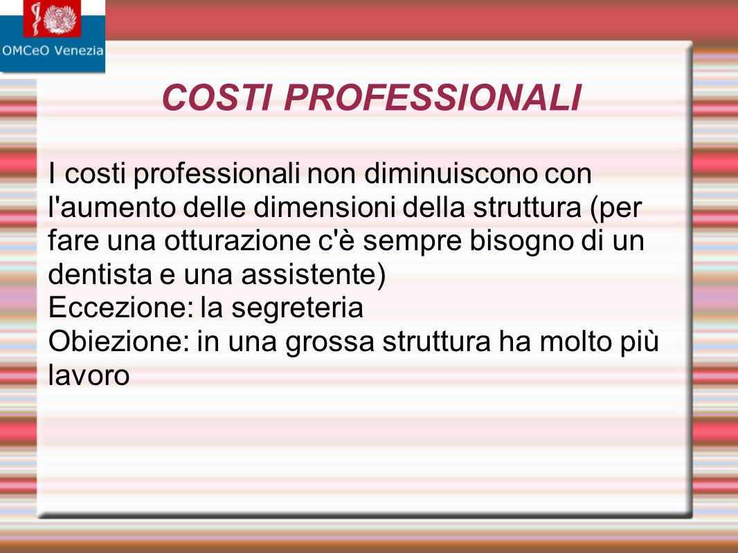 COSTI PROFESSIONALI