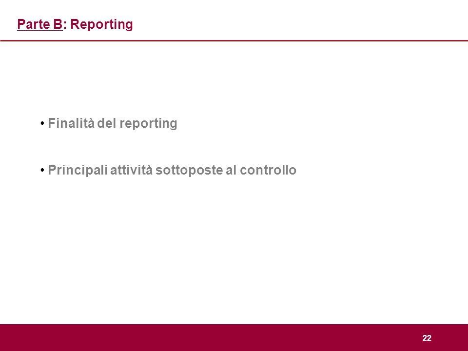 Parte B: Reporting Finalità del reporting Principali attività sottoposte al controllo