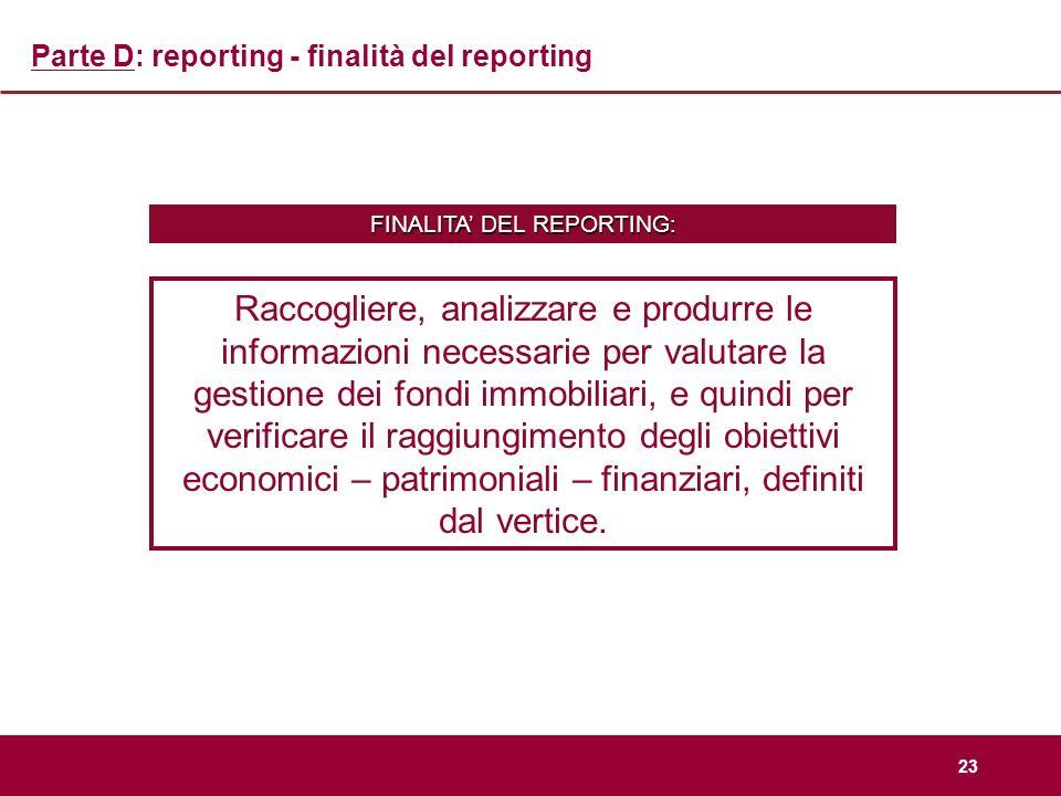 Parte D: reporting - finalità del reporting