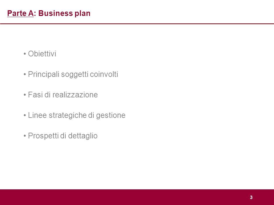 Parte A: Business plan Obiettivi. Principali soggetti coinvolti. Fasi di realizzazione. Linee strategiche di gestione.