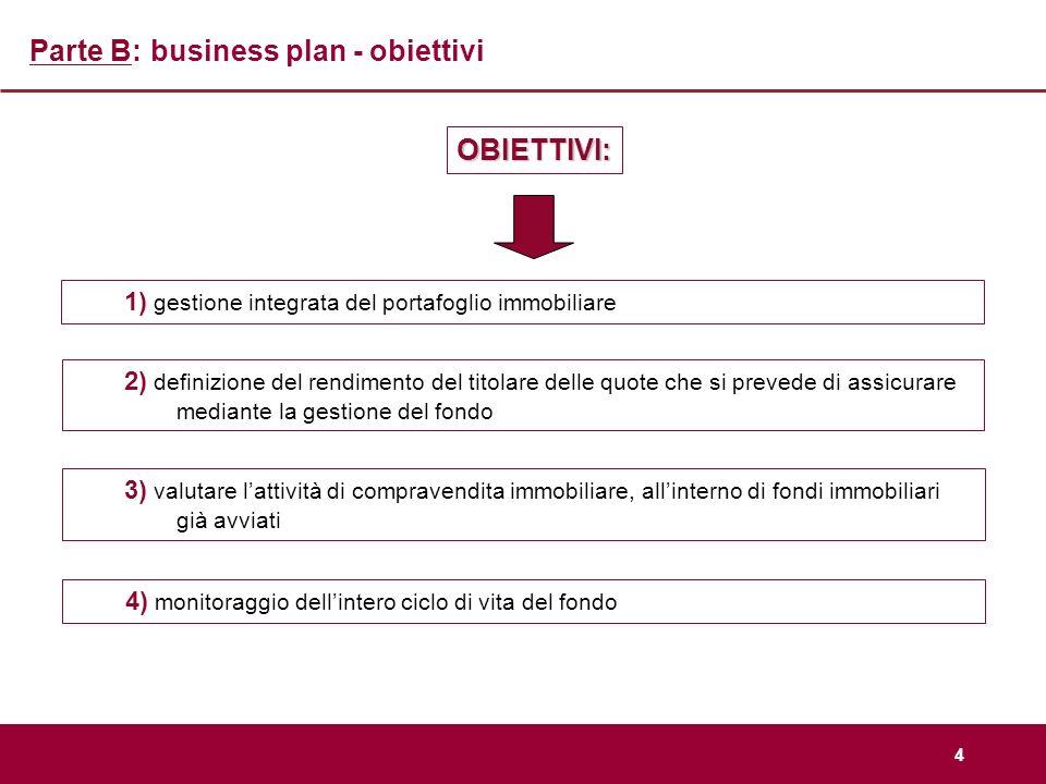 Parte B: business plan - obiettivi
