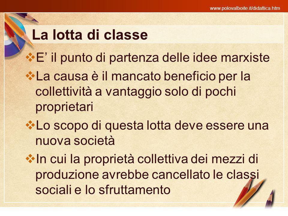 La lotta di classe E' il punto di partenza delle idee marxiste