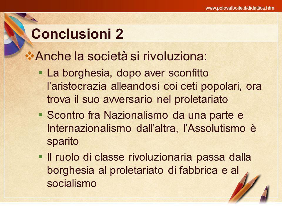 Conclusioni 2 Anche la società si rivoluziona: