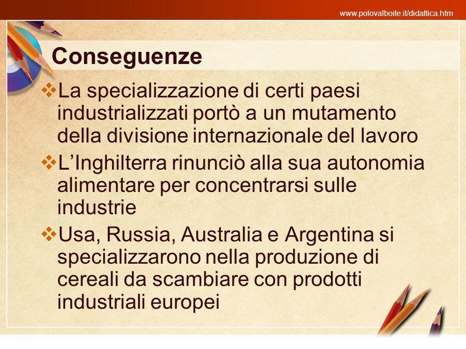 Conseguenze La specializzazione di certi paesi industrializzati portò a un mutamento della divisione internazionale del lavoro.