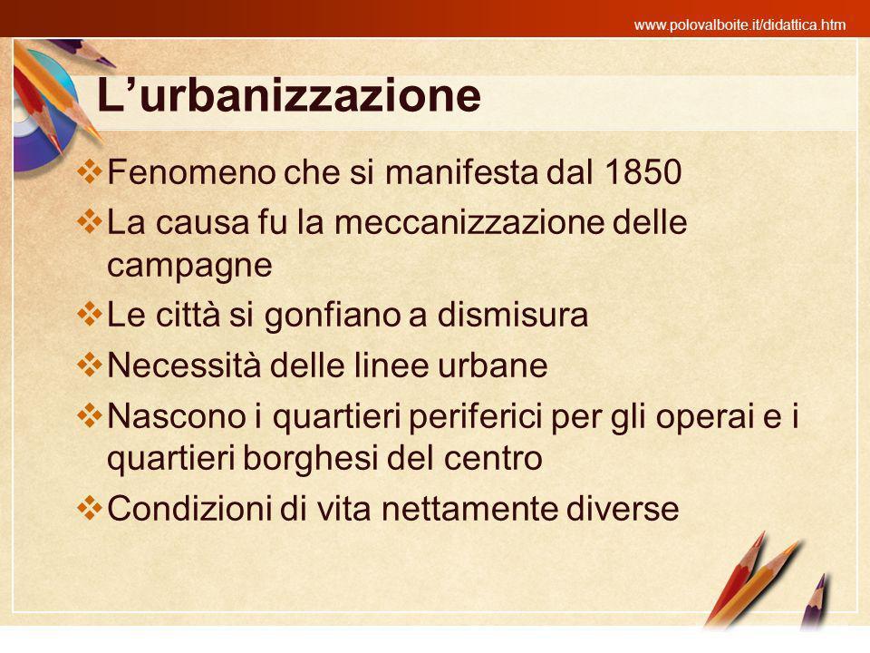 L'urbanizzazione Fenomeno che si manifesta dal 1850