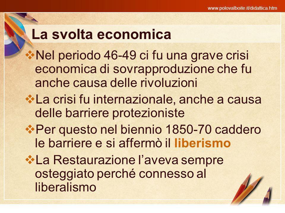 La svolta economica Nel periodo 46-49 ci fu una grave crisi economica di sovrapproduzione che fu anche causa delle rivoluzioni.