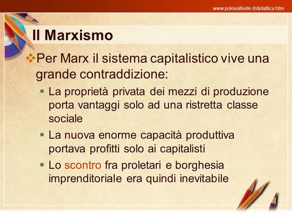 Il Marxismo Per Marx il sistema capitalistico vive una grande contraddizione: