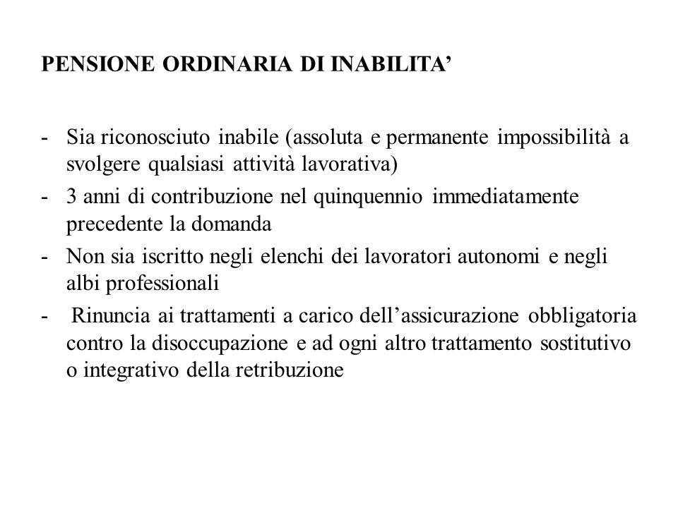 PENSIONE ORDINARIA DI INABILITA'