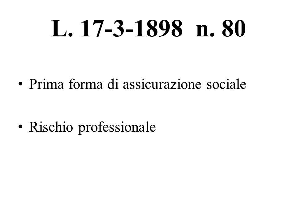 L. 17-3-1898 n. 80 Prima forma di assicurazione sociale