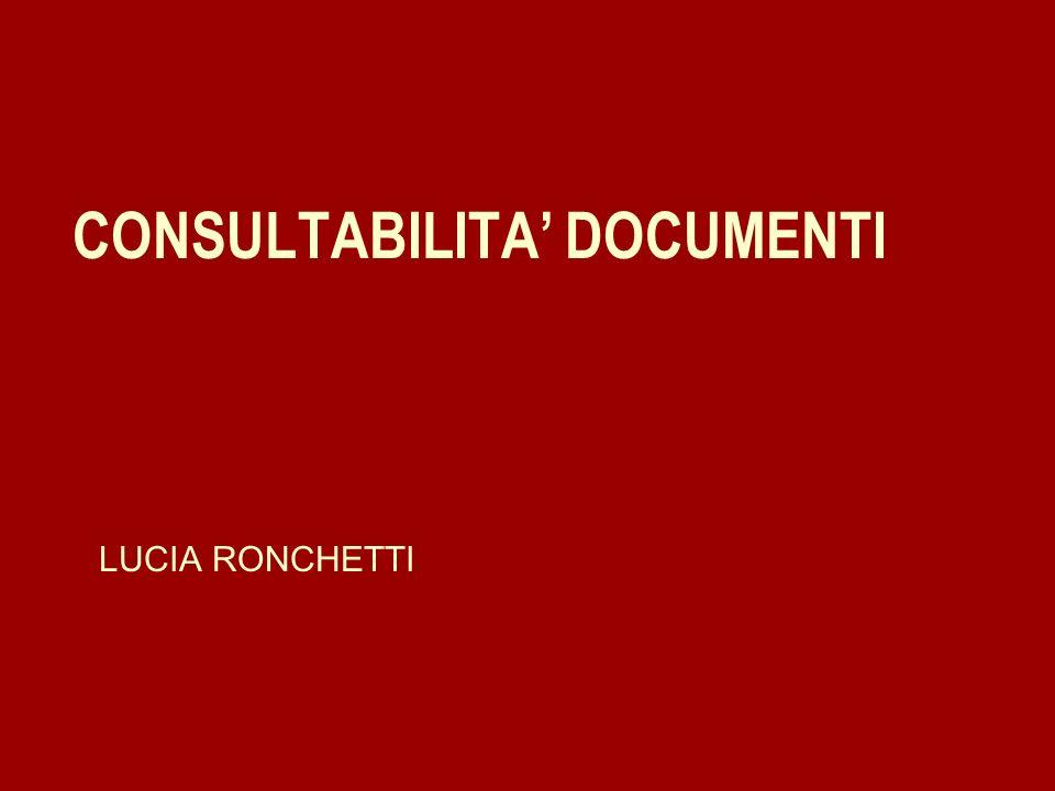 CONSULTABILITA' DOCUMENTI