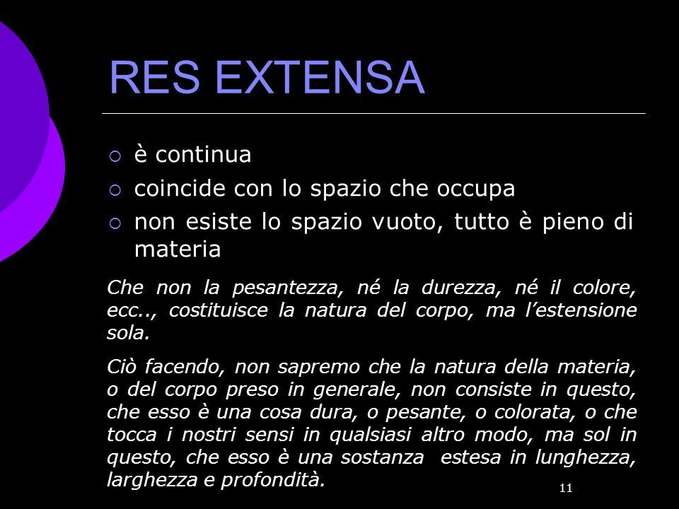 RES EXTENSA è continua coincide con lo spazio che occupa