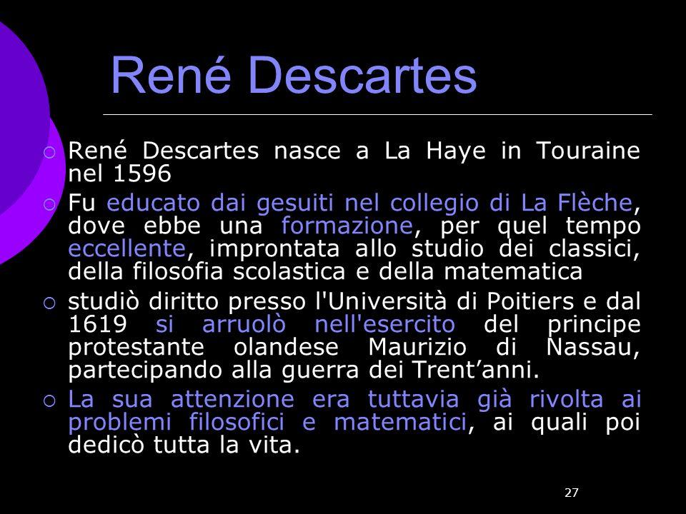 René Descartes René Descartes nasce a La Haye in Touraine nel 1596