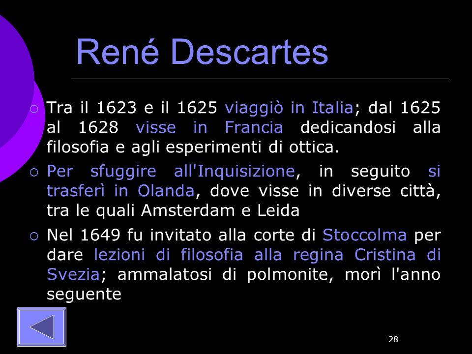 René Descartes Tra il 1623 e il 1625 viaggiò in Italia; dal 1625 al 1628 visse in Francia dedicandosi alla filosofia e agli esperimenti di ottica.