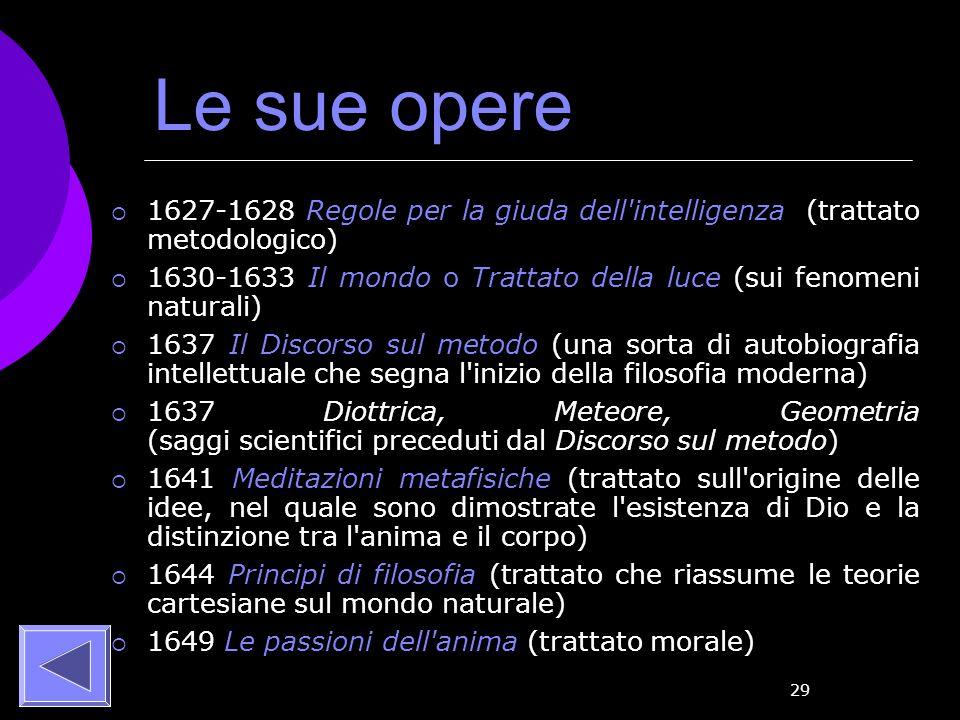 Le sue opere 1627-1628 Regole per la giuda dell intelligenza (trattato metodologico)