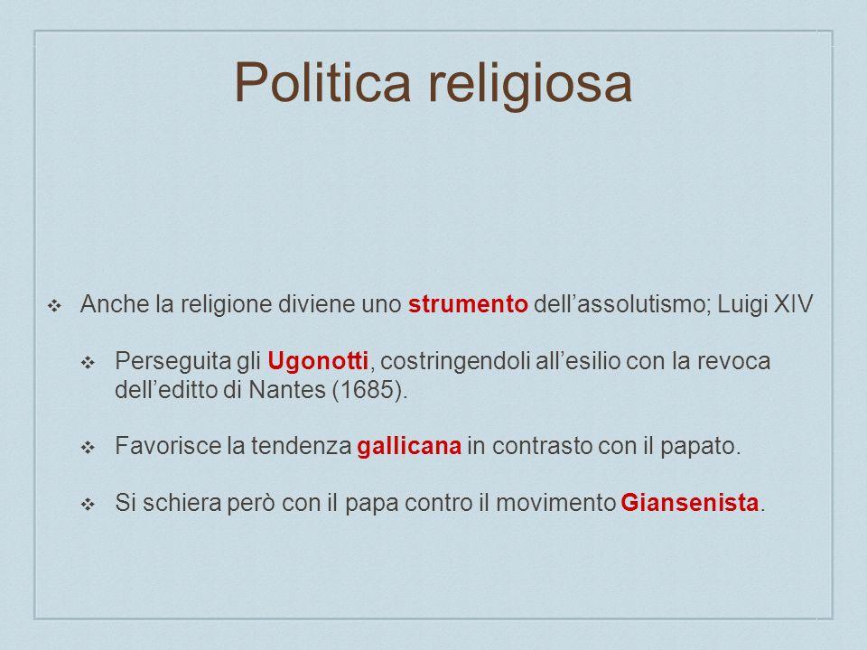 Politica religiosa Anche la religione diviene uno strumento dell'assolutismo; Luigi XIV.